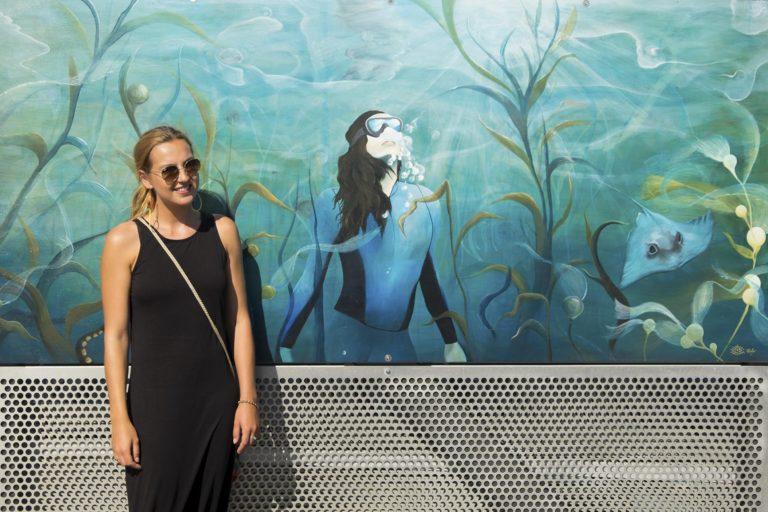 Seaweed mural and artist
